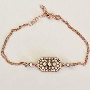 Jewelry - Silver rectangle bar bracelet clear cz stones